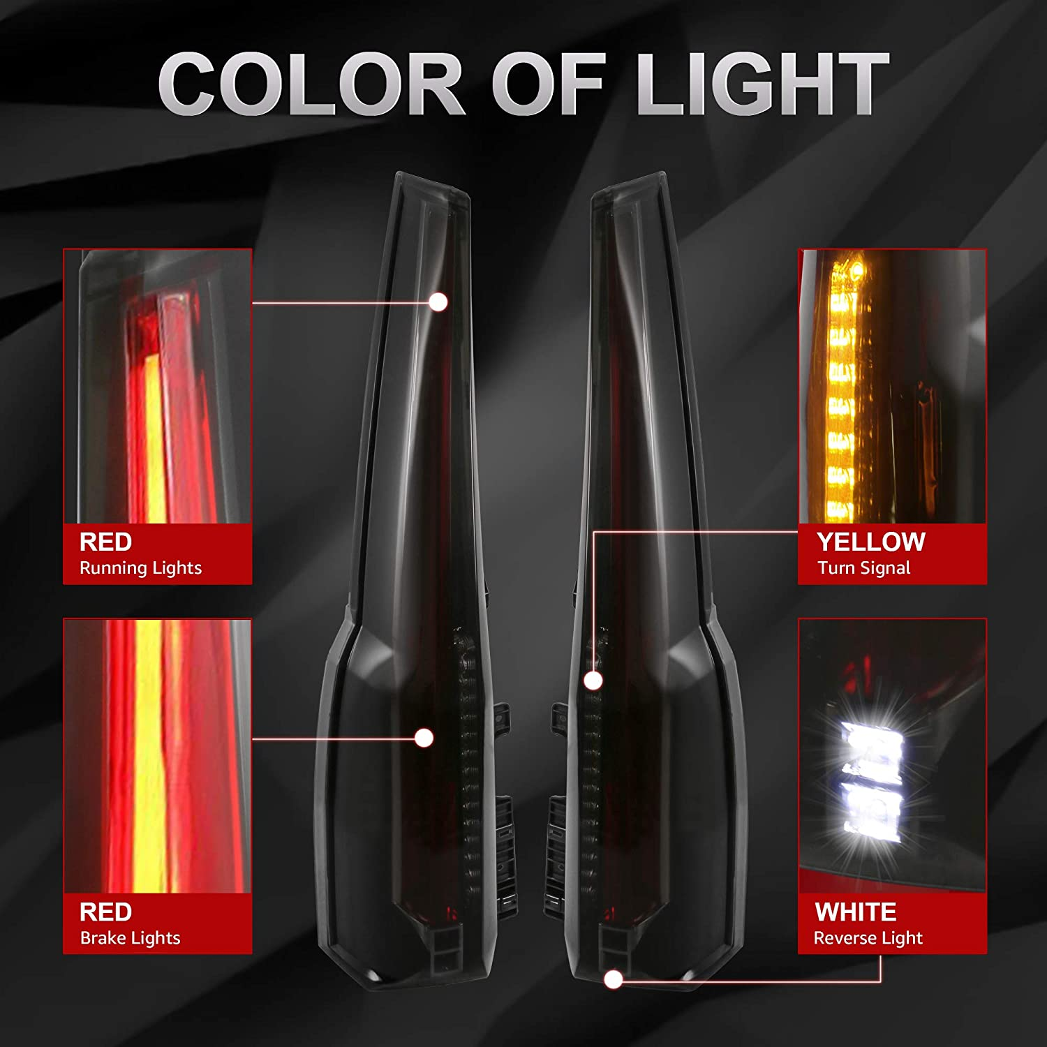 Smock Tinted MOSTPLUS LED Tail Lights Rear Lamp Brake Compatible for 2015 2016 2017 2018 2019 GMC Yukon Cadillac Style Set of 2
