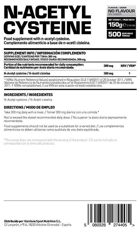 HSN RAW - N-Acetil Cisteína - NAC - Antioxidante - Aumenta los Niveles de Glutatión - En Polvo - Sin Sabor - 150g