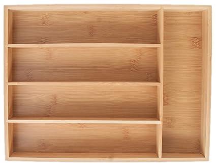 Gianchy Bandeja para cubiertos de bambú, Organizador de Cubiertos, Tesistente y Ecológico, 5