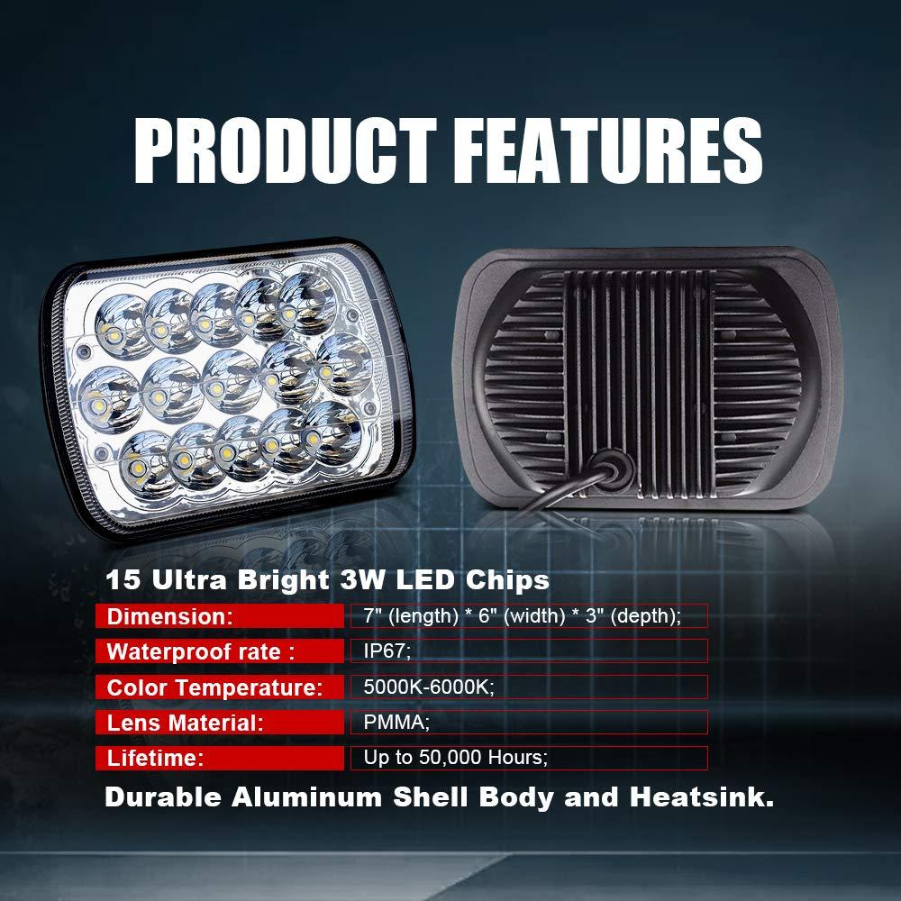 DOT Rectangular 5x7 7x6 LED Headlights Hi//Lo Replace Halogen Sealed Beam headlamp For H6054 Jeep Wrangler JK Grand Cherokee XJ YJ JKU 4x4 Toyota Tacoma pickup Ford F250 E350 Chevy Corvette van Dodge Ram