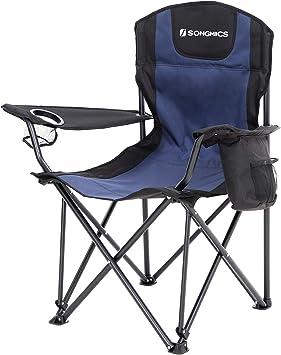 SONGMICS Silla de Camping Plegable, con Asiento Amplio y Confortable, Resistente, MAX. Capacidad de Carga 250 Kg, Silla para Exterior