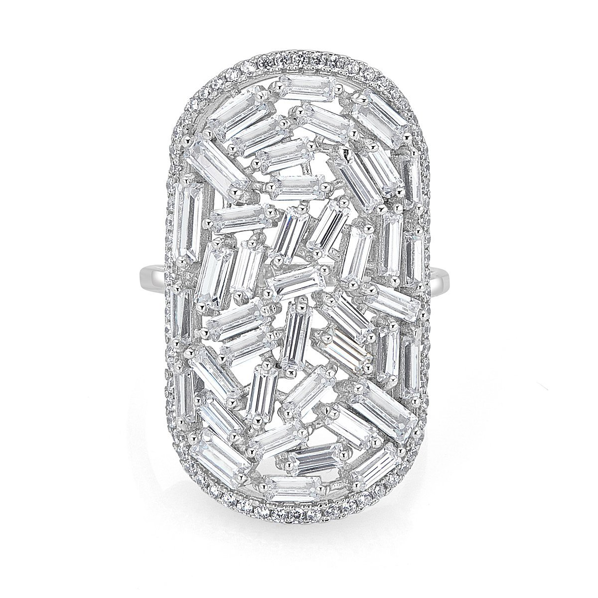 Platinum Plated Sterling Silver Baguette Cubic Zirconia Ring by Caratina