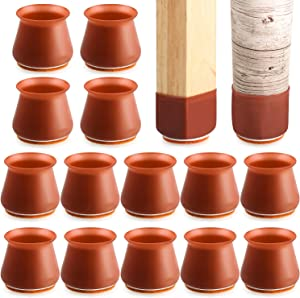 24 PCS Walnut Brown Chair Leg Protectors with Felt for Hardwood Floors, mikede Silicone Furniture Leg Cover Pad for Protecting Floors from Scratches and Noise, Smooth Moving for Chair Feet.