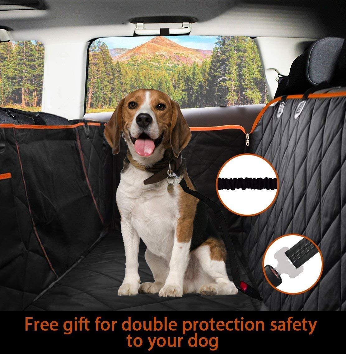 Flightbird Dog Seat Cover for Back Seat, Back Seat Cars,Waterproof Dog Car Seat Covers with Mesh Window,Car Seat Cover, pet Cargo Liner for SUV, Waterproof Durable Bumper Protector, Pet Cargo Liner,C