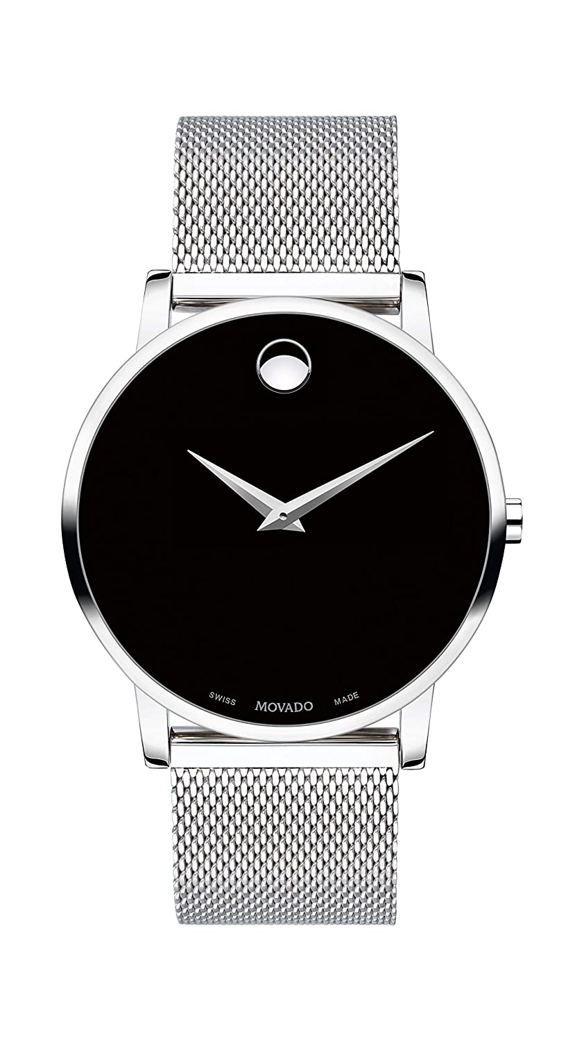Movado Men S Museum Stainless Steel Watch With Concave Dot Museum Dial Black Silver Model 607219