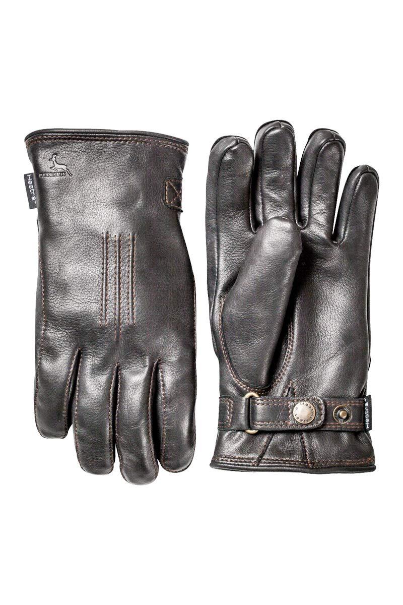 Hestra Men's Deerskin Lambsfur Lined Black Gloves