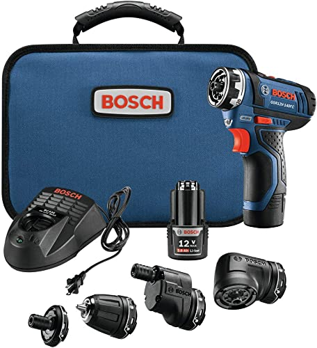 Bosch GSR12V-140FCB22-RT 12V Max FlexiClick 5-In-1 Drill Driver System Renewed