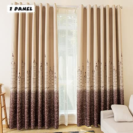 Elegant KINLO 1 Panel 145 X 245 Cm Eyelet Blackout Curtains Coffee Sea Castle  Thermal Insulated Top