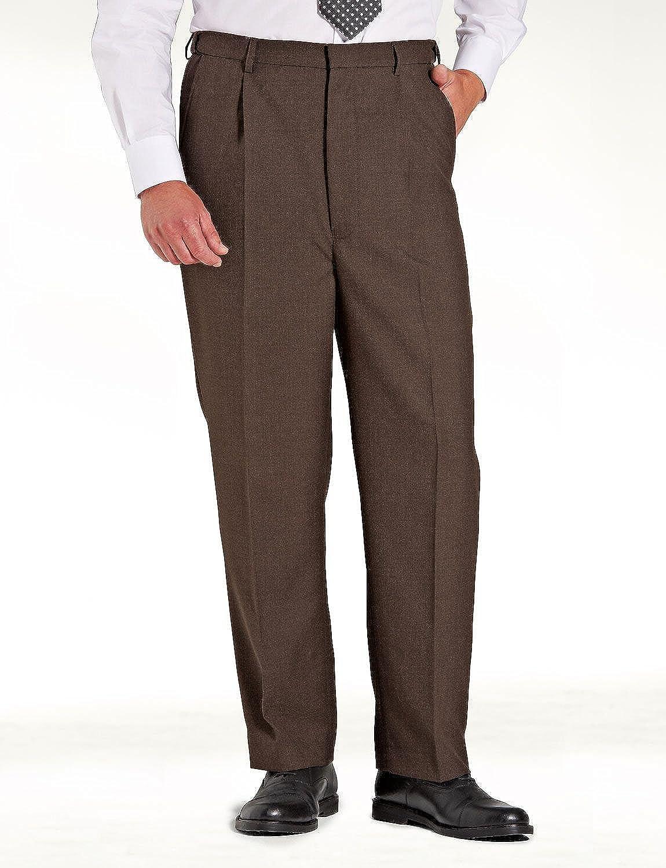 Chums Mens High Waisted Wool Blend Trouser Pants Stretch Waistband