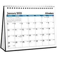 """CRANBURY Small Desk Calendar 2021 - (Blue, 8x6""""), Flip Calendar 2021 with Premium Thick Paper, Stand Up Calendar, Bonus…"""