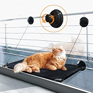 Cat Window Perch Window Bed Perch Hammock Seat Kitty Sunny Seat Durable Big Pet Perch with Upgraded Warm Cotton 2020 Latest Screw Suction Cups can Holds Huge Cats Easy Set up (L, Black)