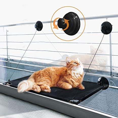 Cat Hammock Window Bed Perch Seat with 4 Strong Suction Cups Sunbath Safety Pet Cat Shelves Hold up to 44lb