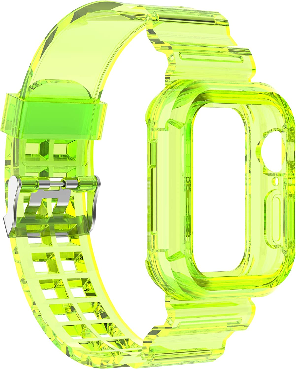 Chofit Compatible with Apple Watch Bands 38mm/40mm 42mm/44mm, Silicone Replacement Band Straps with Bumper case Compatible with Apple Watch SE iWatch Series 6 5 4 3 2 1 (Lime, 42mm/44mm)