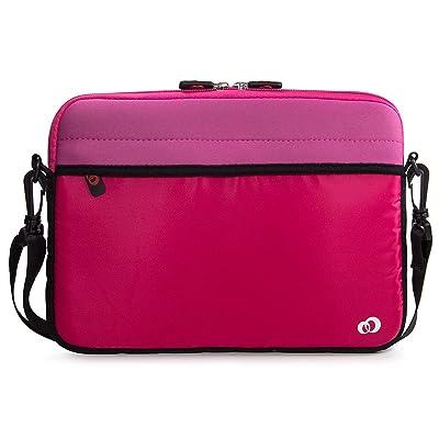 "Kroo 11"" Neoprene Messenger Bag Sleeve with Front & Rear Pockets, Pink"