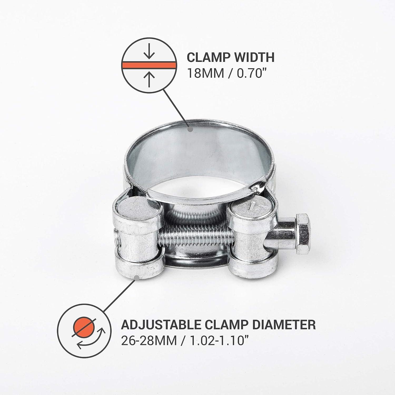 Pack de abrazaderas reforzadas de 26 a 28 mm para manguera