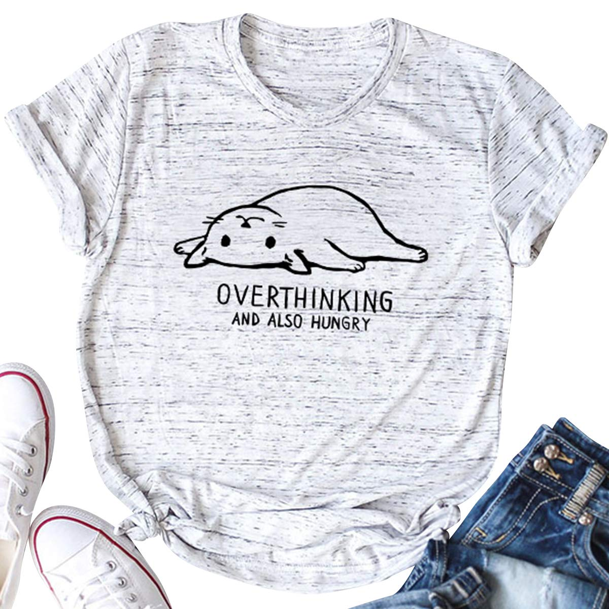 Overthinking and Also Hungry T-Shirts Women Cat Print Funny Graphic Tee