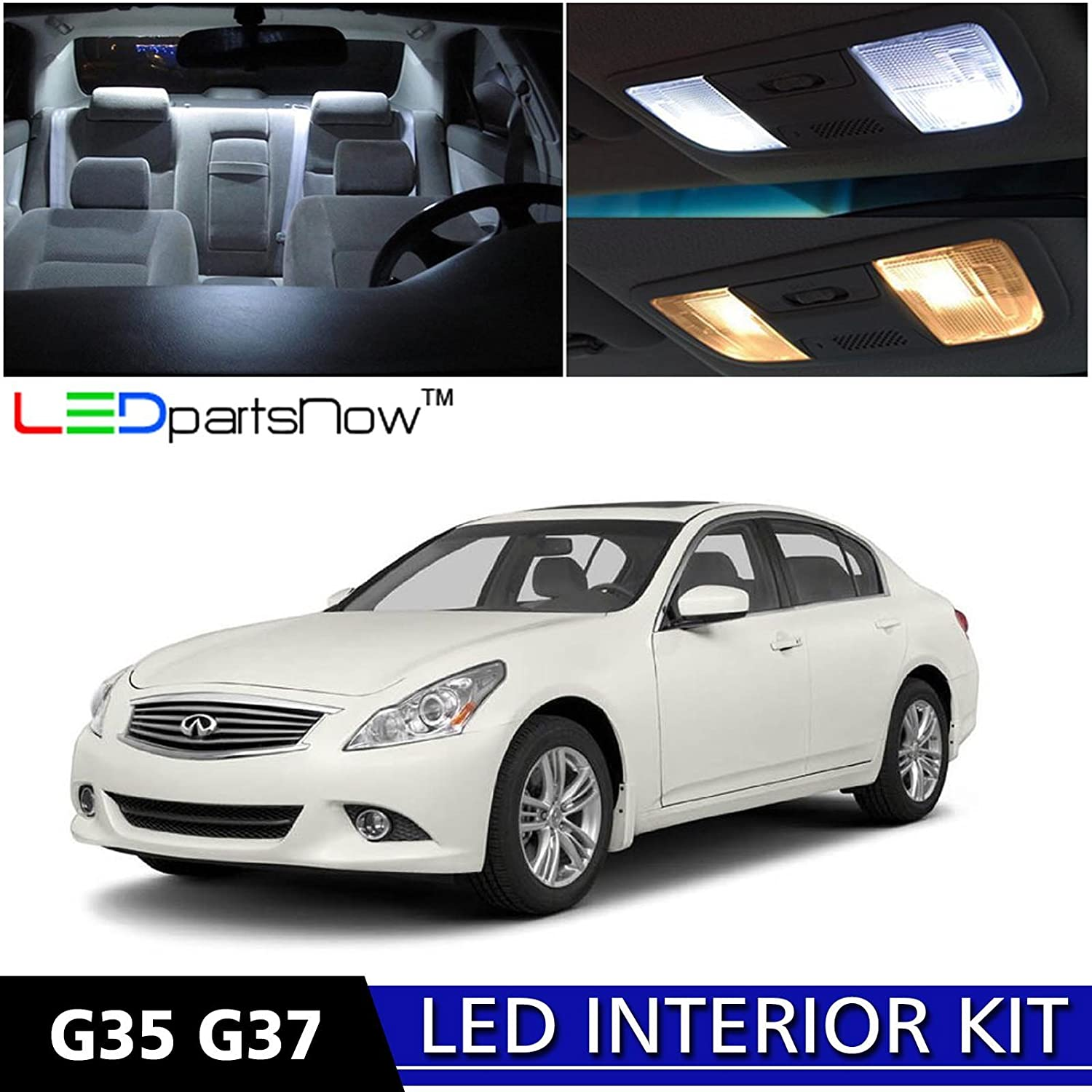 Amazon ledpartsnow 2007 2014 infiniti g35 g37 sedan led amazon ledpartsnow 2007 2014 infiniti g35 g37 sedan led interior lights accessories replacement package kit 12 pieces white tool automotive vanachro Choice Image