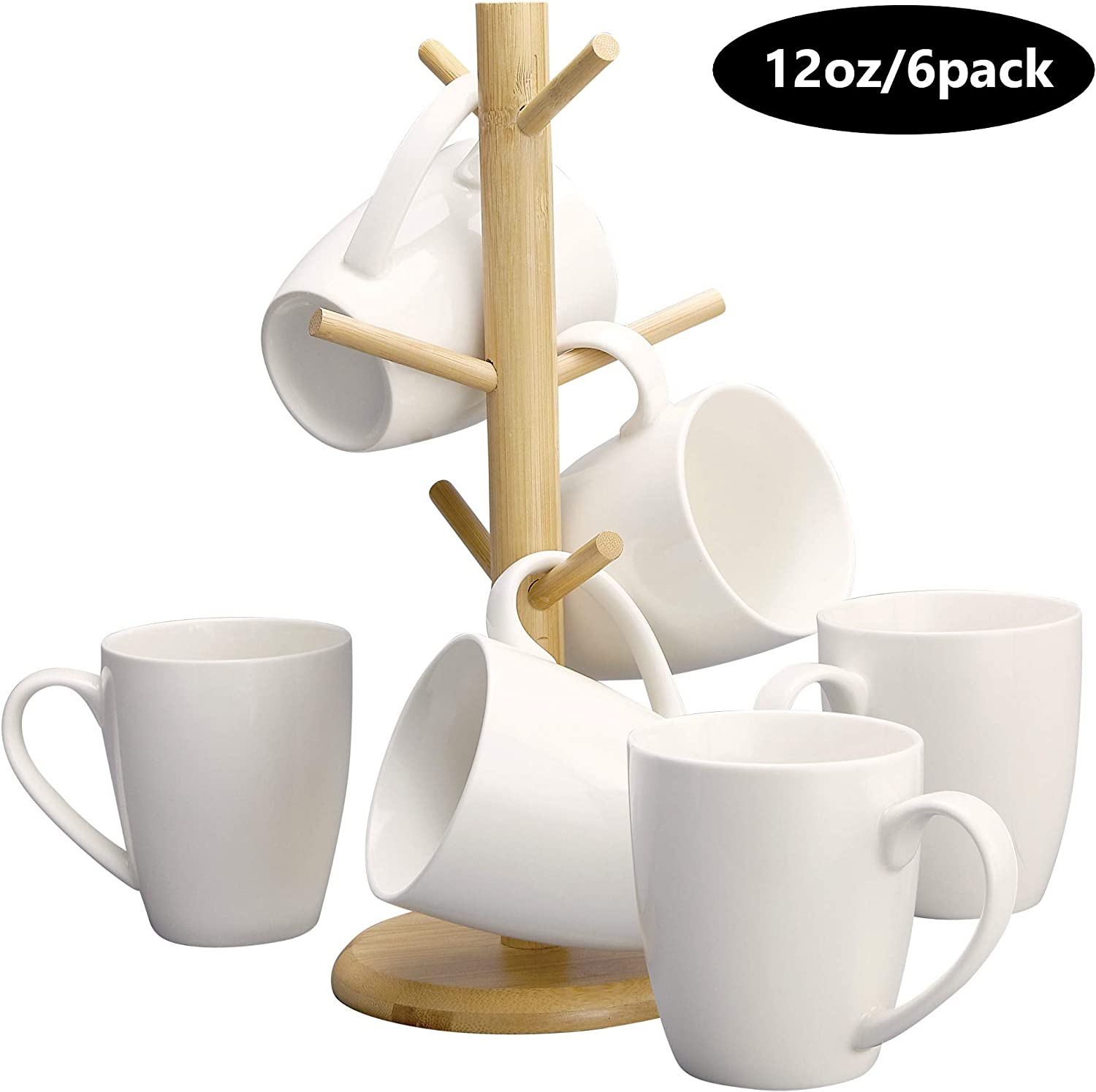 Coffee Mug Set Of 6 Ceramic Coffee Cups 12 oz. Elegant White With A Free Stand - Mug Holder Tree - Wood Organizer Rack with 6 Hook Hangers - Cup Stand For Kitchen Counter Tops - By DecorDine