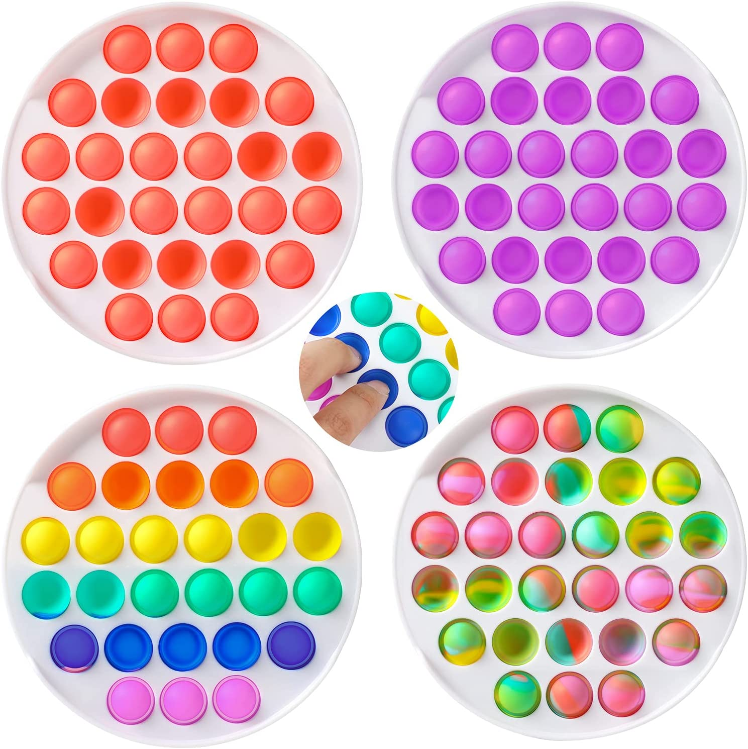ENNO Push Pop Fidget Toy, Pop Push Bubble Sensory Toy for Autism, Food Grade Silicone Hips Stress Reliever Toy Set of 4, Anti-Anxiety Dimple Squeeze Toy for Adults Kids Gift(Round Multicolor)