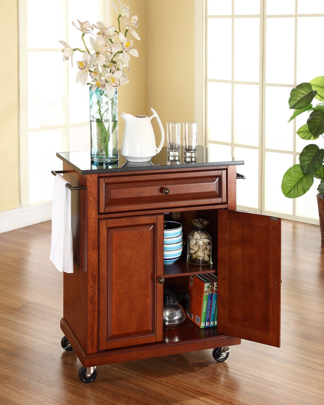 Crosley Furniture Cuisine Kitchen Island with Solid Black Granite Top - Classic Cherry