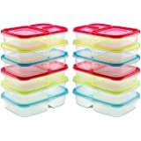 """Sealcom 3 Compartment Lunch Box Set – Pack of 12 - Easy Open Colored Lids – Reusable Meal Prep Bento Box - Divided Food Storage Containers – BPA Free - Dishwasher and Microwave Safe – 9.3"""" x6.2"""" x5"""""""