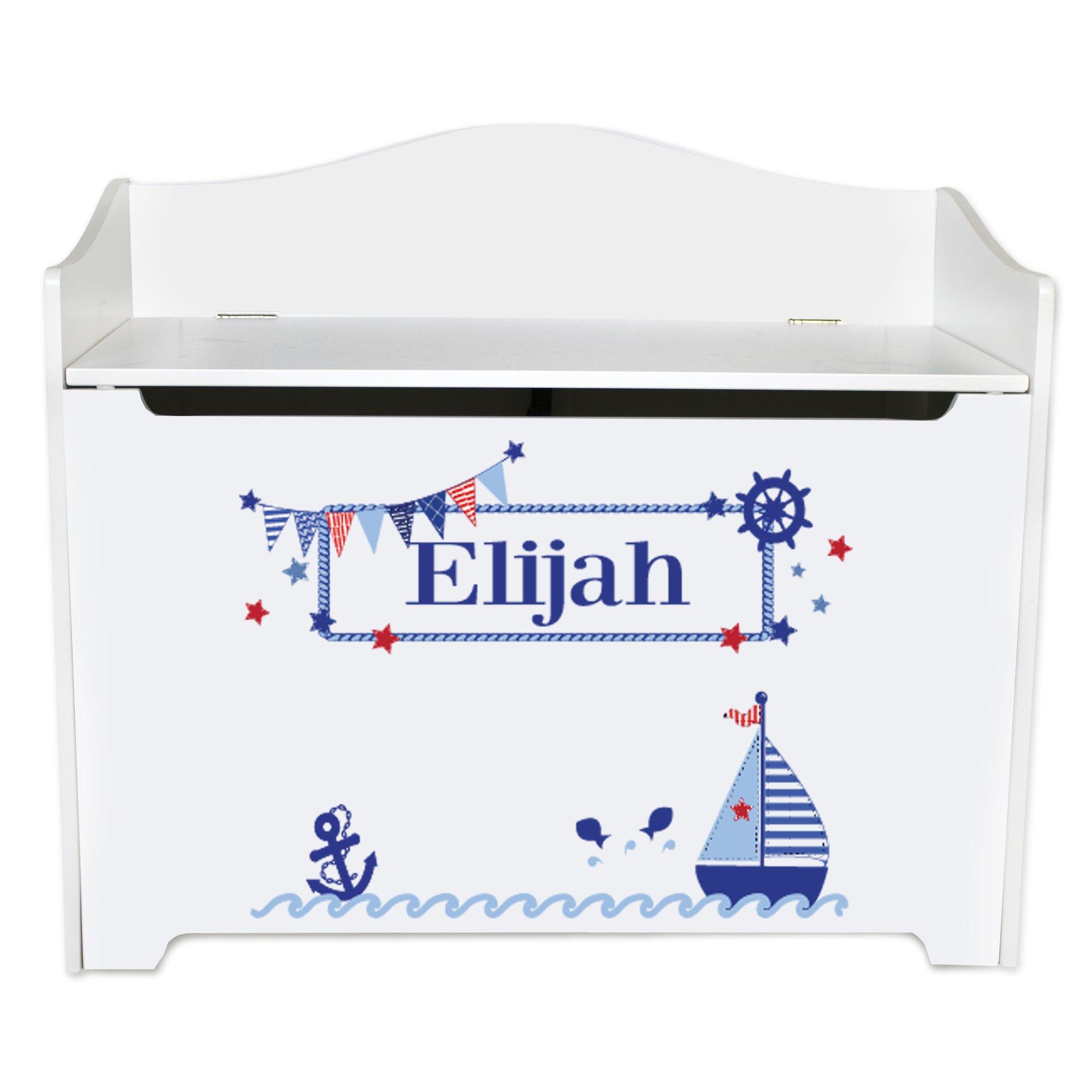 Personalized Boys Sailboat Toy Box Bench Custom