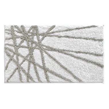 InterDesign Microfiber Abstract Bathroom Shower Accent Rug - 34  x 21 , Stone/White
