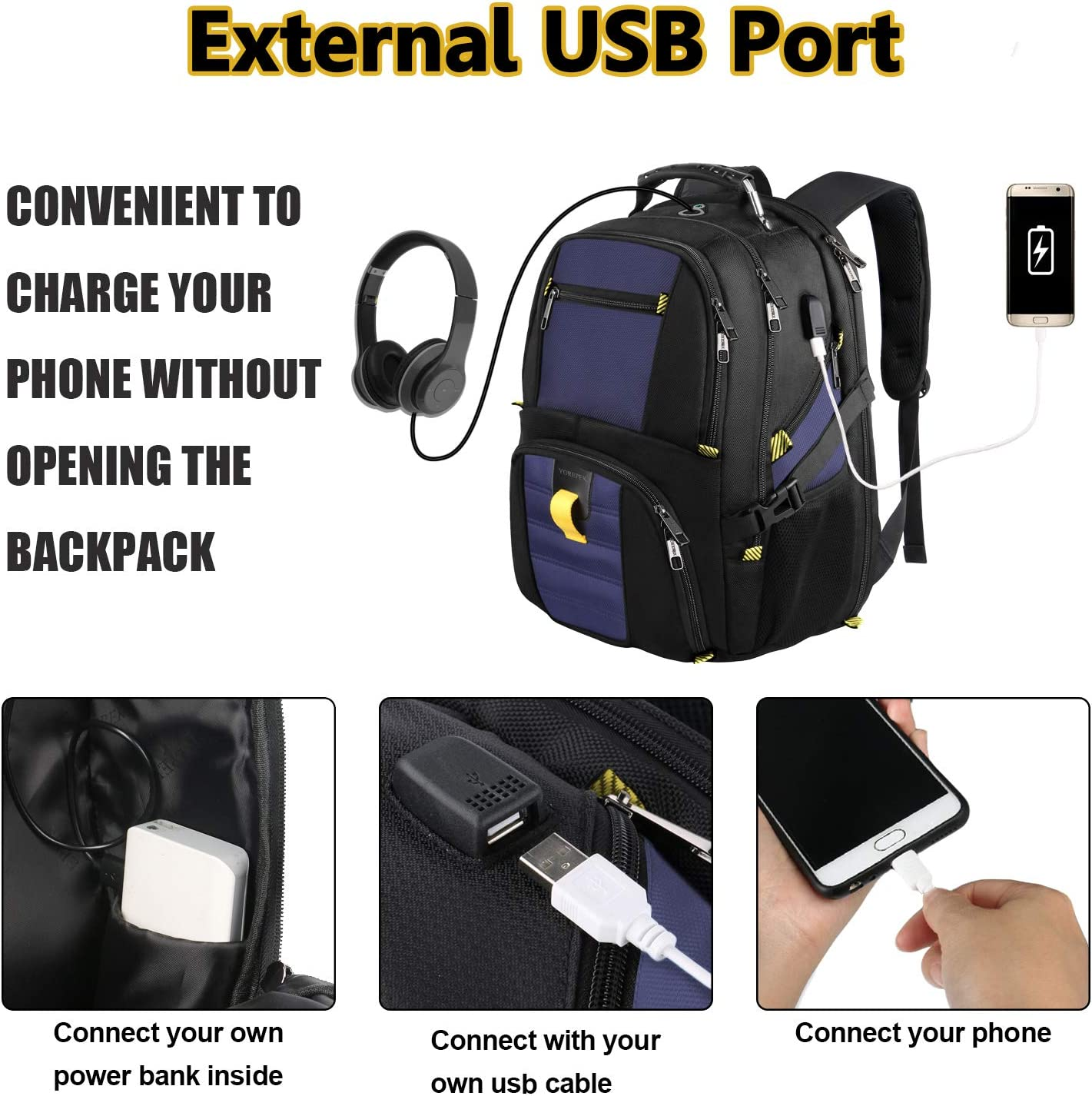 Backpacks for Men, Extra Large Travel Laptop Backpack Gifts for Women Men with USB Charging Port,TSA Friendly Business Computer Bag College High School Bookbags Fit 17 Inch Laptops 45L,Black: Electronics