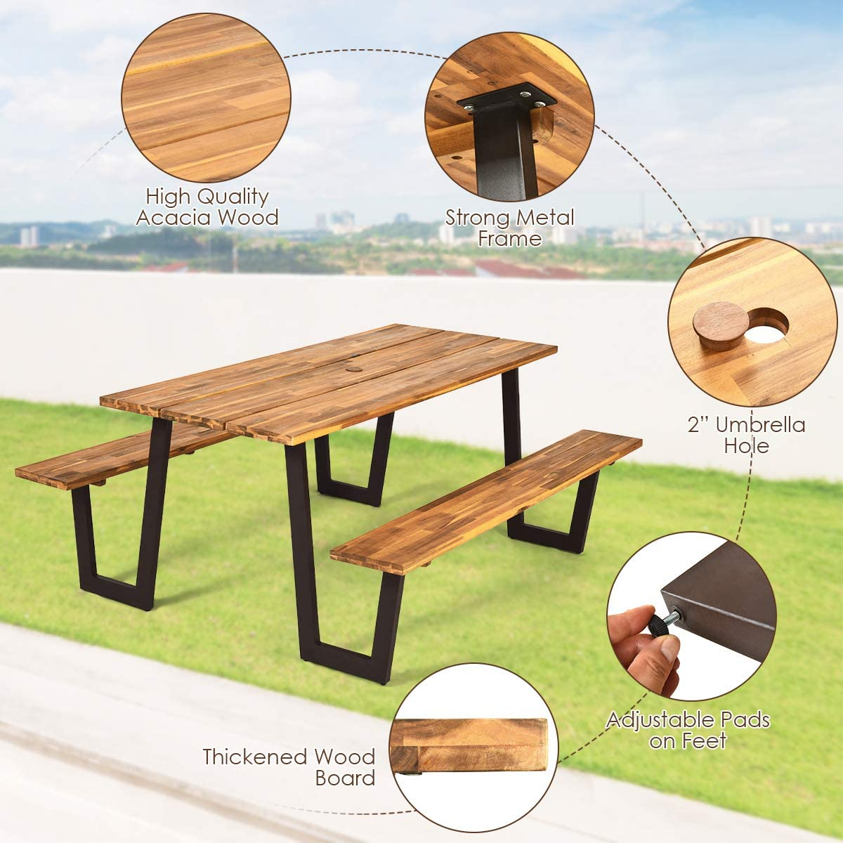 "Outdoor Dining Table Set for 8 Persons Giantex Picnic Table Bench Set with Umbrella Hole Natural /& Black 70/"" Acacia Wood Picnic Beer Table with Metal Frame"