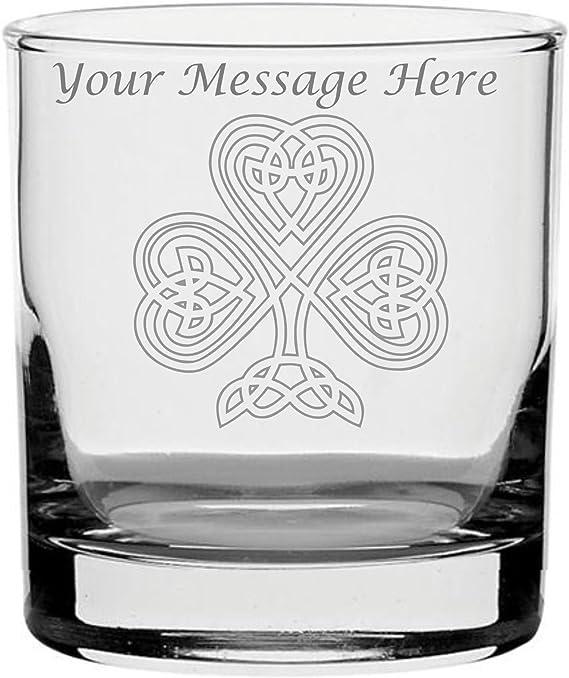 Personalised Engraved Whisky Glass With Irish Shamrock Design