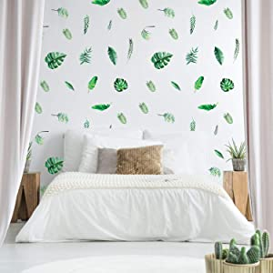 Outgeek Tropical Stickers,Palm Leaf Wall Decals 126 Pcs Tropical Plants Tree Leaves Removable Waterproof for Kids Nursery Room Home Decor Bedroom Living Room Decorations…