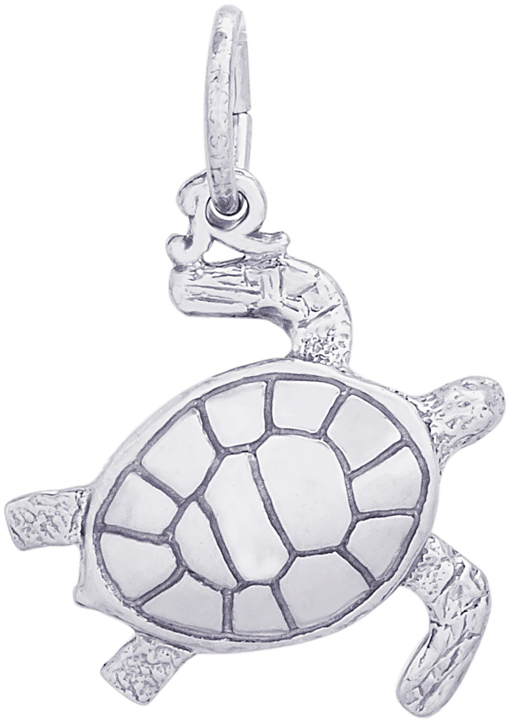 Rembrandt Charms 14K White Gold Sea Turtle Charm (17 x 17 mm)