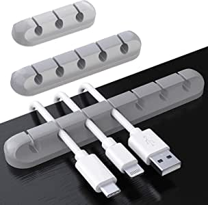 Cable Clips, TERSELY 3 Pack Cord Management Cable Organizer, Silicone Adhesive Wire Holder for Power Cords, Charging Cables in Office and Home (7 Slots 5 Slots 3 Slots,Gray)