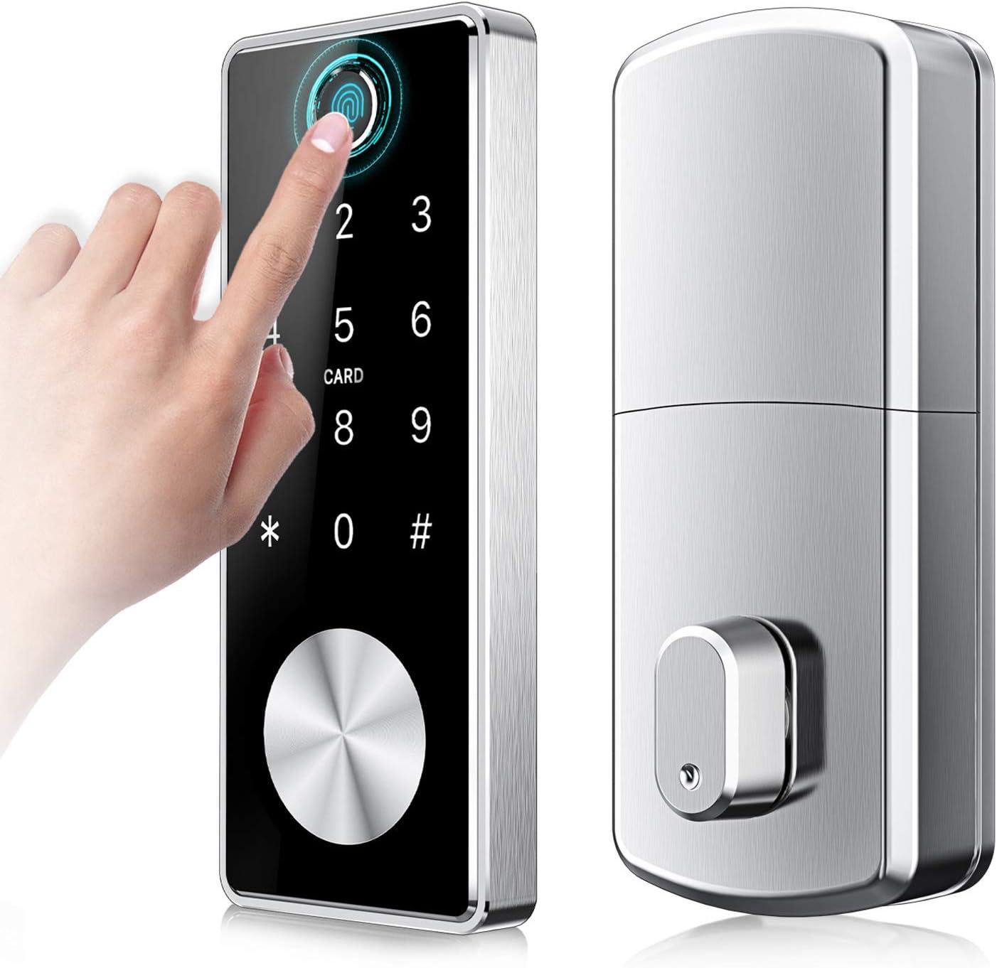 Keyless Entry Door Lock Smart Touchscreen Keypad Electronic Deadbolt Fingerprint Lock for Door Knob Bluetooth App Key ID Card Digital Code Auto Lock Front Door Locks for Home Office by Nyboer(Silver)