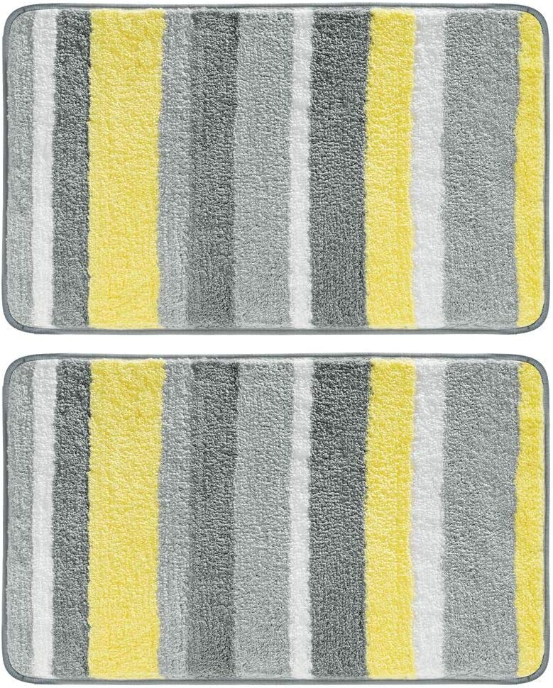 "mDesign Soft Microfiber Polyester Non-Slip Spa Mat, Plush Water Absorbent Accent Rug for Bathroom Vanity, Bathtub/Shower - Machine Washable, Striped Design, 34"" x 21"" - 2 Pack - Gray/Yellow"