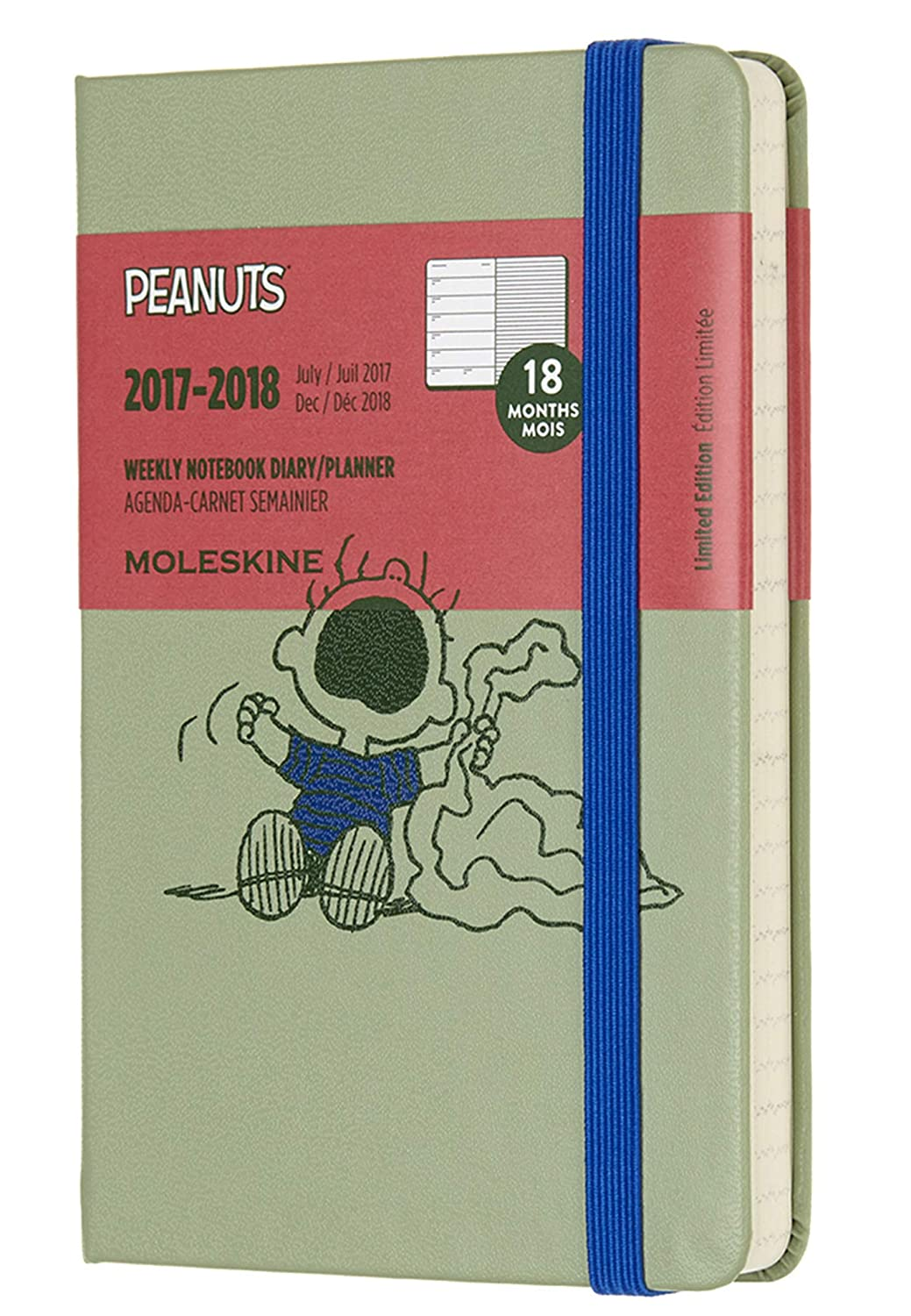 Moleskine Limited Edition Peanuts 18 Month 2017-2018 Weekly Planner, Hard Cover, Pocket (3.5