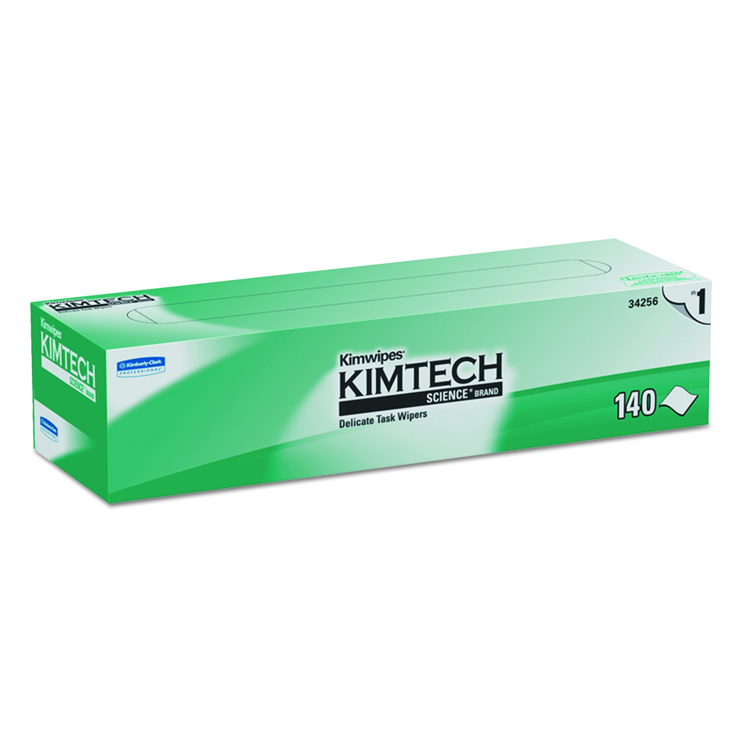 Kimtech 34256CT KIMWIPES Delicate Task Wipers, 1-Ply, 14 7/10 x 16 3/5, Box of 140 (Case of 15 Boxes)