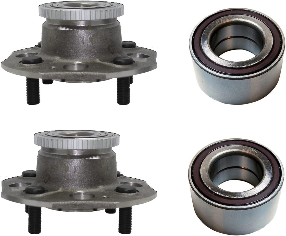 Front Wheel Bearing and Rear Hub Assembly Set for 1998 1999 2000 2001 2002 Honda Accord 2.3L Engine w// 4-wheel Disc Brakes Detroit Axle