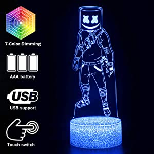 Magiclux Game Series Battle Royale 3D Illusion Night Light ABS Base Acrylic Board with Romete Control Home&Room Decor Table Lamp (MY1146-Marshmello)