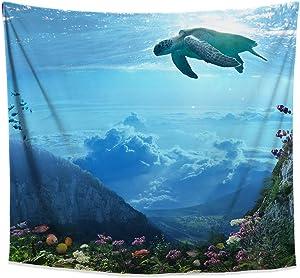 Zen Underwater Tapestry, Blue Ocean Landscape Wall Hanging, Turtle Design, Beach Aesthetic Decor for Bedroom Living Room Dorm, 58x51 inches