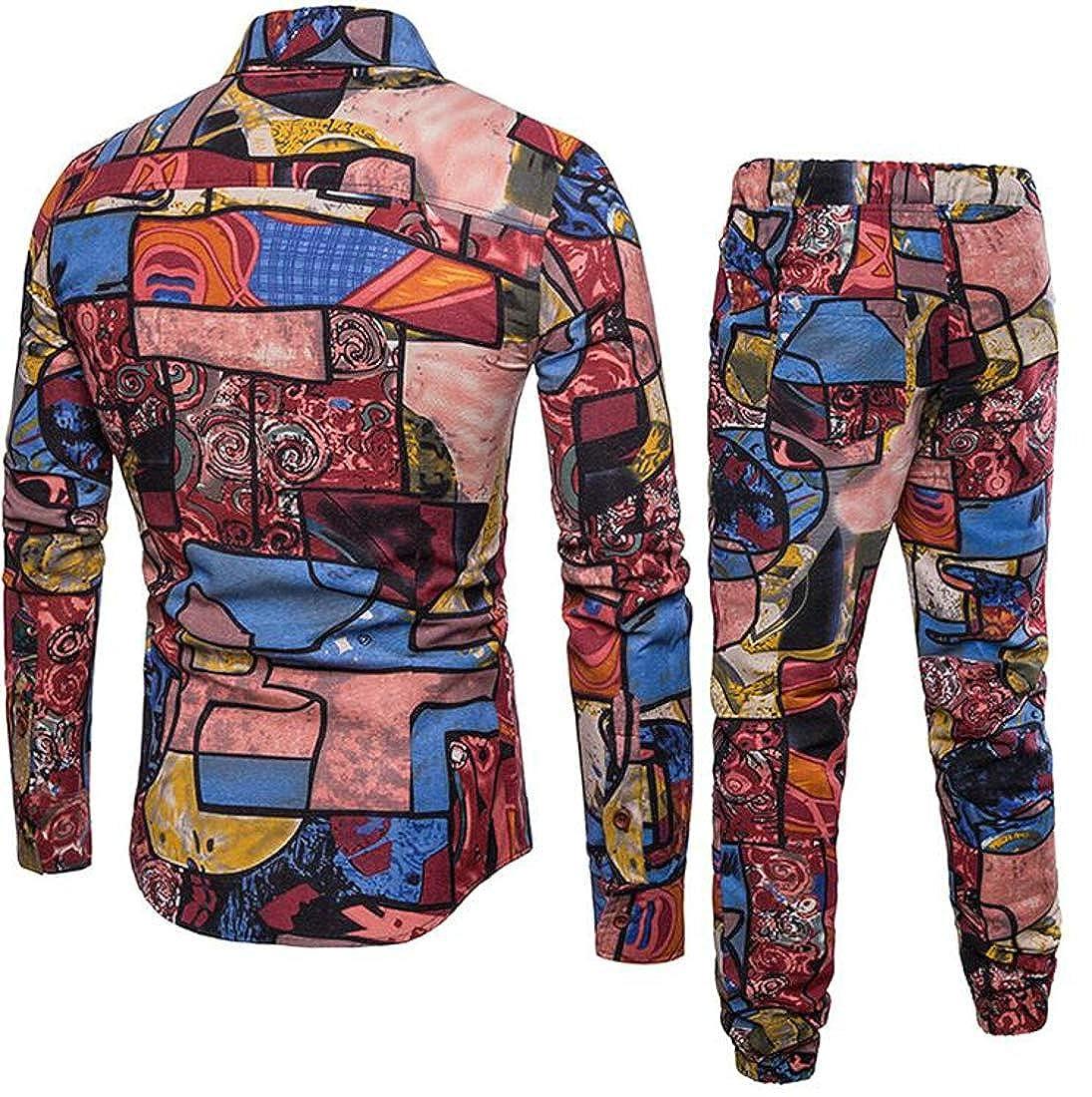 35ccf39a Red XTX Men's Club Wear Print Jogger Jogger Jogger Pants 2PCS Shirt ...