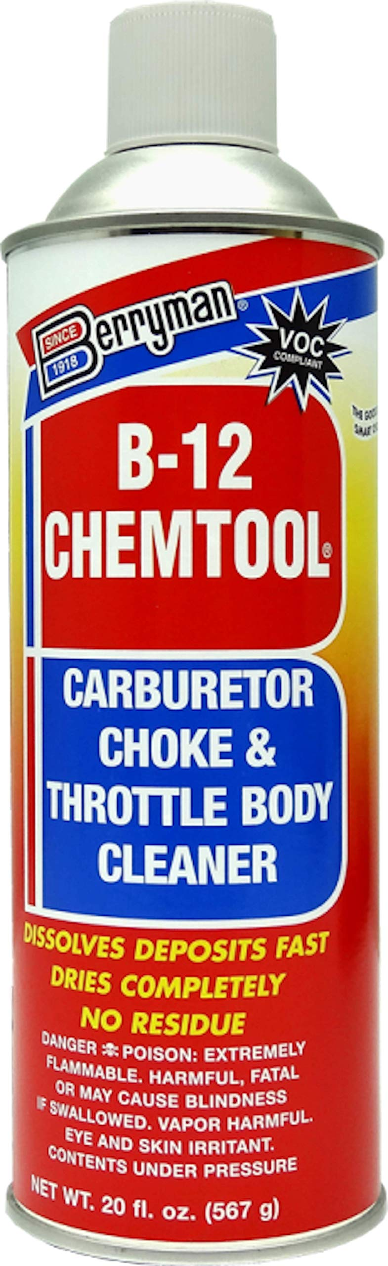 Berryman B-12 Chemtool Carburetor, Choke & Throttle Body Cleaner with Extension Tube [VOC Compliant In All 50 States], 20-ounce aerosol, 0120C