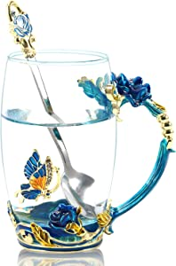350ML Enamel Tea Cup Glass Coffee Mug Handmade Rose Flower Tea Mug for Valentine's Day, Birthday, Christmas Gift with Stainless Steel Spoon Set Blue
