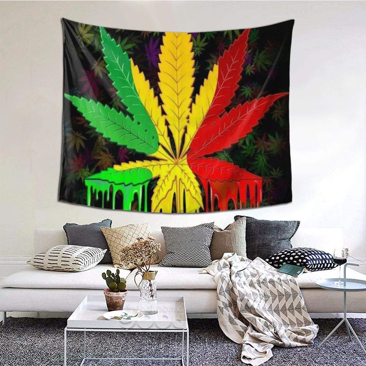 LASINSU Tapiz de Regalo,Reggae Rasta Marihuana Leaf Weed,Tapiz Bohemio diseño para Colgar en la Pared,Sala de Estar Dormitorio
