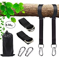 Extra Long Garden Courtyard Tree Swing Straps Non-Stretch for Kids,Adjustable Tree Swing Hanging Kit for Any Length Holds 2200lbs Each Rope(SGS Certified),with 2 Lock Snap Carabiner Hooks(6.56ft)
