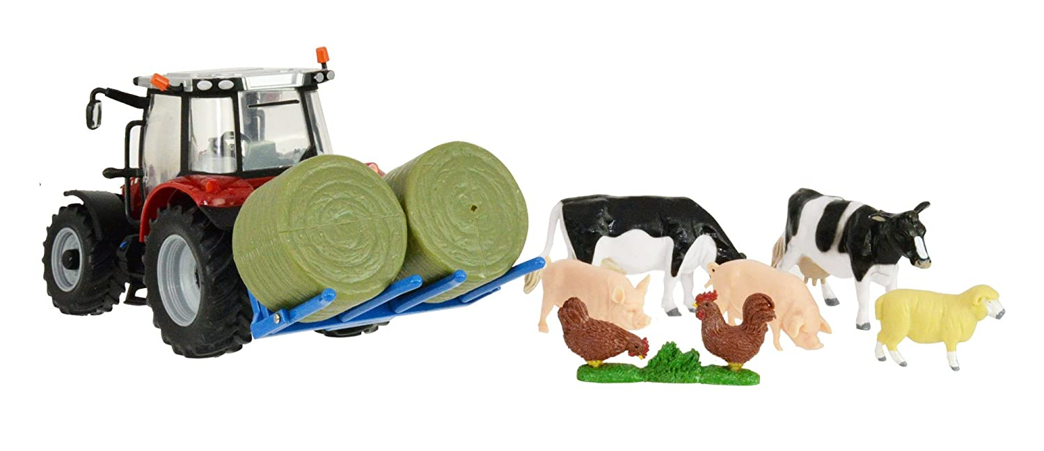 Britains 1:32 Massy Ferguson Playset - Includes Tractor, Bales and Farmyard Animals - Collectable Farm Vehicle Playset Suitable For Indoor and Outdoor Play - Suitable From 3 years Tomy 43205