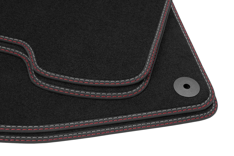 teileplus24 BDV582 Terciopelo alfombras del autom/óvil Sistema de fijaci/ón Original 100/% a Medida los Bordes de Piel Nubuk Costura de Color:Rojo//Plata Costuras Dobles