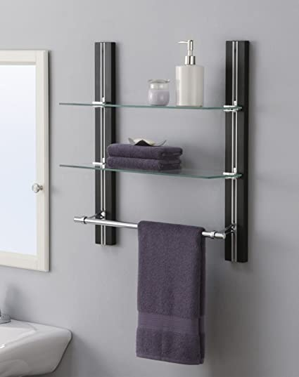 organize it all wall mount 2 tier bathroom glass shelf with towel bar - Bathroom Glass Shelves