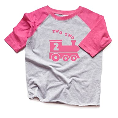 Two Train 2nd Birthday Shirt Girl Second Bday Toddler Raglan Trendy 2 Heads Up Shirts
