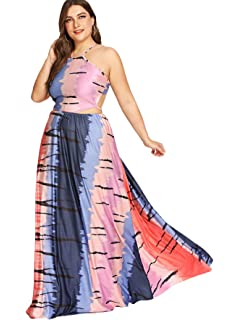 34b3efe743 Floerns Women's Sexy Plus Size Maxi Dress Sleeveless Long Party Dress  Multicolor 2X